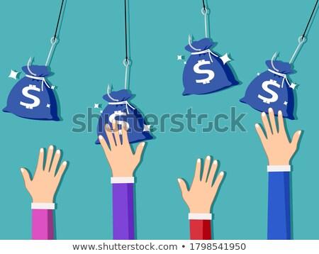 Dinero gancho ilustración diseno aislado blanco Foto stock © alexmillos
