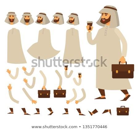 Barbado árabe empresario cuero maleta ropa Foto stock © studioworkstock