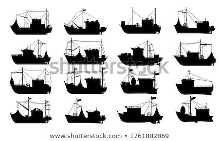 Kereskedelmi halászhajók izolált fehér ikon oldalnézet Stock fotó © studioworkstock