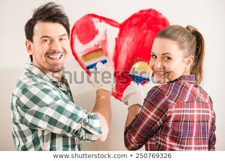 liefhebbend · paar · schilderij · glimlachend · ander - stockfoto © stokkete