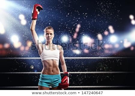 Női boxeralsó áll box gyűrű portré Stock fotó © wavebreak_media