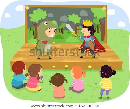 Stickman Kids Dinosaur Play Stock photo © lenm