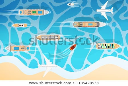Cruise ship in the blue sea or river view from above Stock photo © artjazz