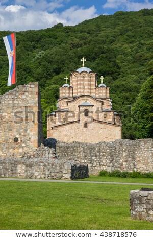Kolostor Szerbia építészet történelem kapu kint Stock fotó © phbcz