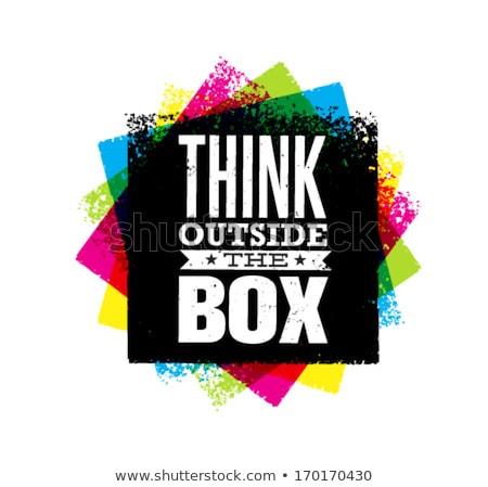 ストックフォト: と思います · 外 · ボックス · フレーム · 孤立した · 白
