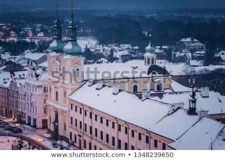 Hiver principale carré République tchèque maison bâtiment Photo stock © benkrut