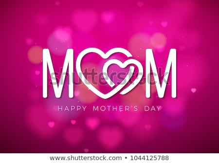 happy mothers day greeting card with hearth and typographic design on pink background vector celebr stock photo © articular
