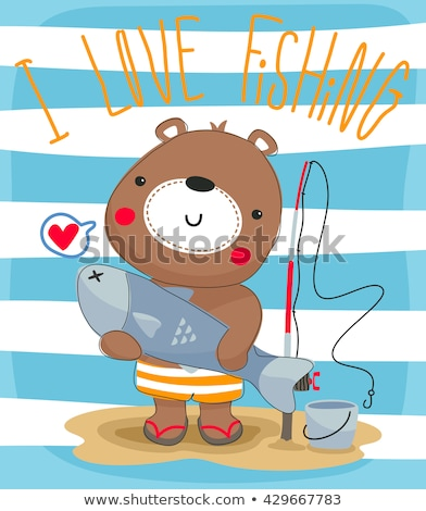 Mascot Bear Fish On Stick Fats Stock photo © lenm