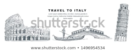 rome coliseum and leaning tower city vector hand drawing artwork stock photo © nikodzhi