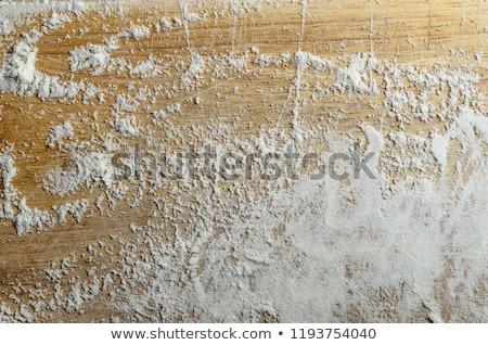 ストックフォト: 小麦粉 · 古い · 木製 · まな板 · ショット · 白