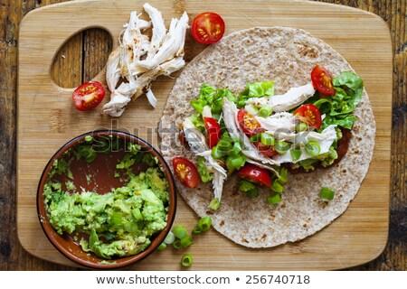 Shredded Turkey meat and tomato Stock photo © devon