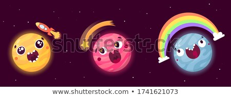 Surpreendido desenho animado ilustração olhando espaço rocha Foto stock © cthoman