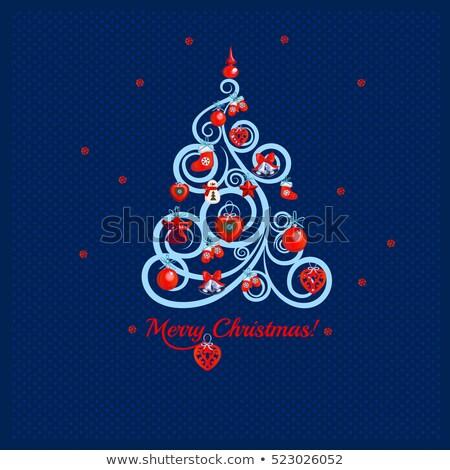 Karácsonyfa kék szavak vidám karácsony minta Stock fotó © Lady-Luck