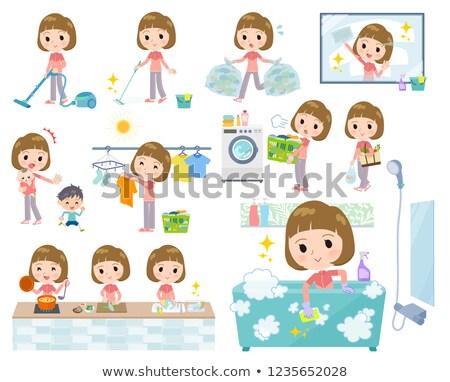 egyenes · nők · szett · sportruha · háztartás · takarítás - stock fotó © toyotoyo