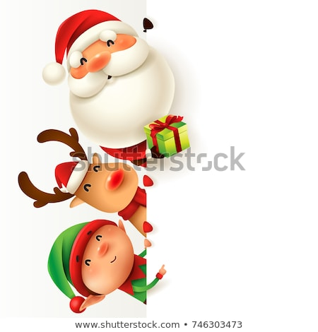 Santa and Reindeer Christmas Cartoon Sign Stock photo © Krisdog