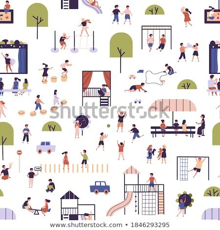 Persone parco giochi illustrazione bambini legno ragazzi Foto d'archivio © bluering