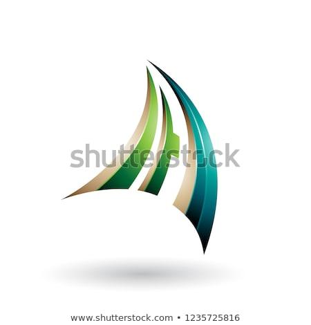 Zöld bézs dinamikus repülés levél vektor Stock fotó © cidepix