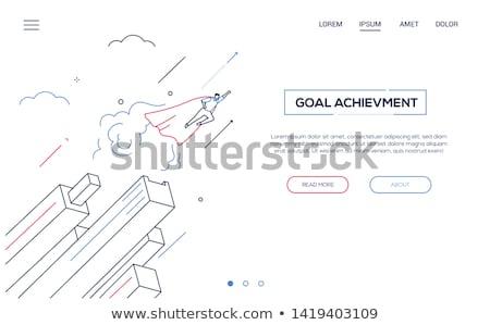 motivatie · landing · pagina · zakenman · trofee · beker - stockfoto © decorwithme