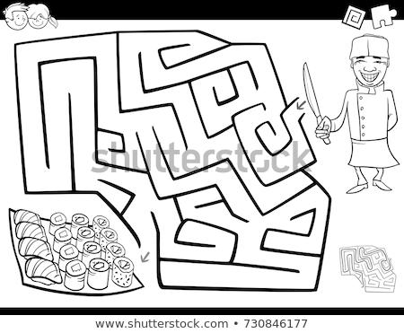 Labirintus szín könyv szakács szusi feketefehér Stock fotó © izakowski