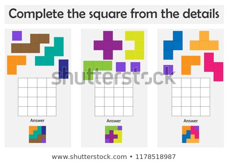 shape pieces completes the puzzle game  Stock photo © Olena