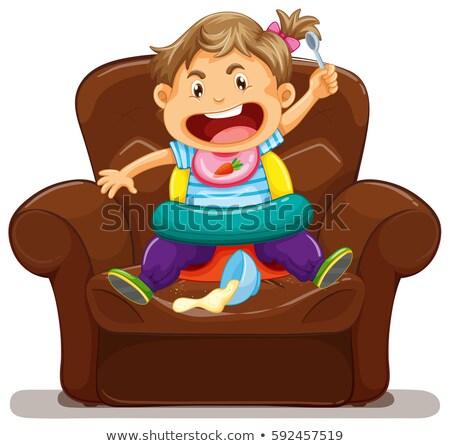 Tineri copil dezordine canapea ilustrare Imagine de stoc © colematt