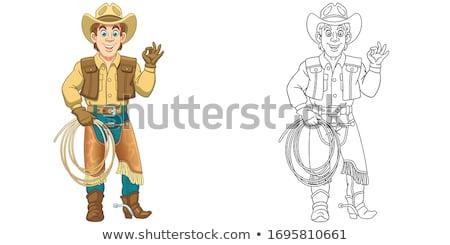 Cartoon улыбаясь Cowboy человека Сток-фото © cthoman