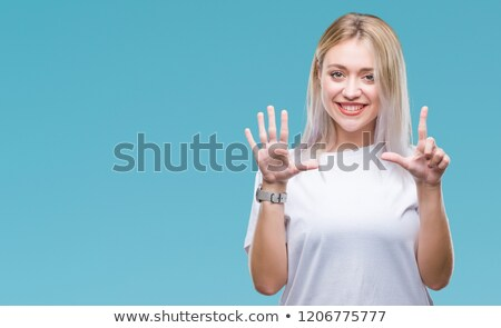 Meisje tonen aantal zeven illustratie hand Stockfoto © colematt