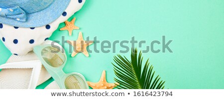 summer white flip flops starfish with tropical palm branches stock photo © illia