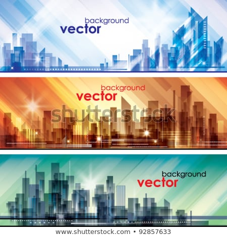 city life   modern line design style web banner stock photo © decorwithme