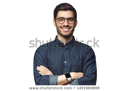 mosolyog · férfi · remek · közelkép · portré · jóképű - stock fotó © deandrobot