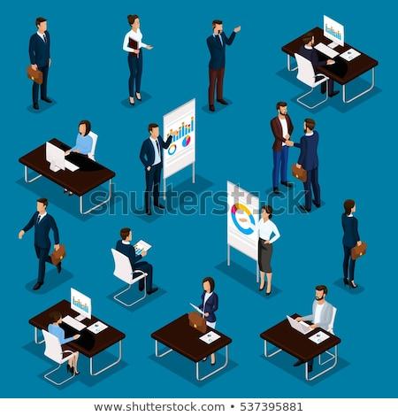 Vrouwelijke werknemer moderne vector isometrische karakter Stockfoto © Decorwithme