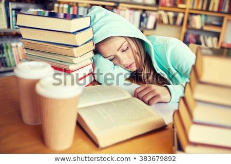 unatkozik · diák · köteg · házi · feladat · szemüveg · szomorú - stock fotó © dolgachov