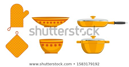 kitchen pot and saucer pan crockery and mitten set stock photo © robuart