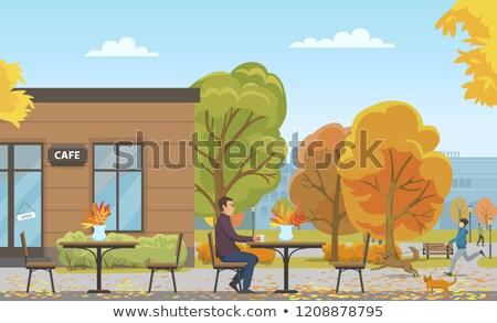 Homme potable vide café saison d'automne vecteur Photo stock © robuart