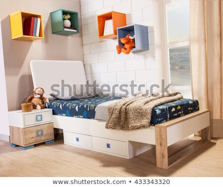 Bedroom with bed and bookshelves Stock photo © colematt