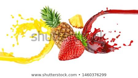 Ananas aardbei illustratie Geel restaurant Rood Stockfoto © ConceptCafe