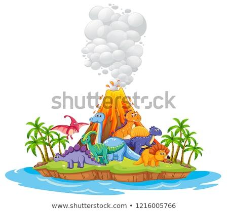 многие динозавр острове иллюстрация природы морем Сток-фото © colematt