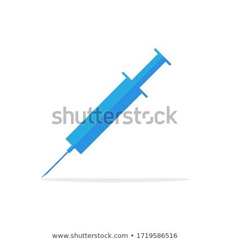 Injekciós tű ikon árnyék kék gyógyszer szín Stock fotó © Imaagio