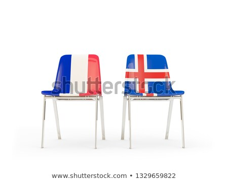 Kettő székek zászlók Franciaország Izland izolált Stock fotó © MikhailMishchenko