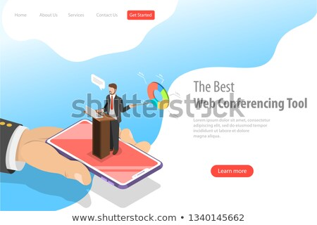 isometric flat vector landing pate template of online conference stock photo © tarikvision