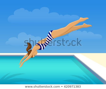 Nő búvárkodik medence illusztráció víz tenger Stock fotó © colematt