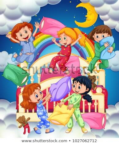 Five girls in bedroom at nighttime Stock photo © colematt
