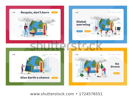 Global warming landing page template. Stock fotó © RAStudio