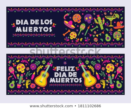 Happy Cinco de Mayo banner of mariachi skull  Stock photo © cienpies