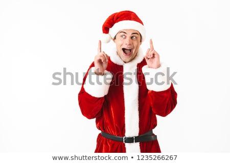 Retrato encantado homem 30s papai noel traje Foto stock © deandrobot