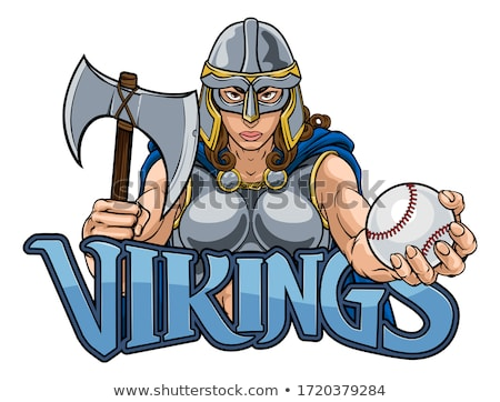 Foto stock: Viking Trojan Celtic Knight Baseball Warrior Woman