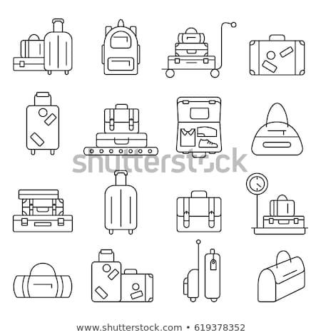 Stock fotó: Line Travel Package Labels