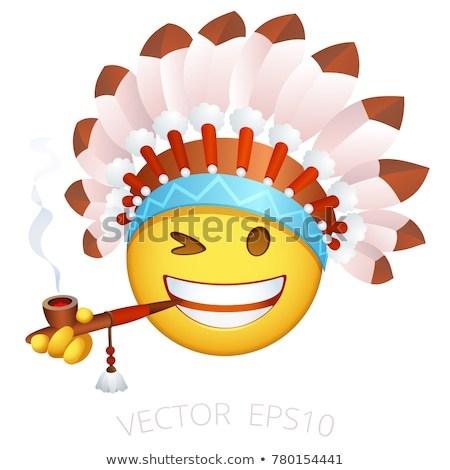 mascot smiley indian chief illustration stock photo © lenm