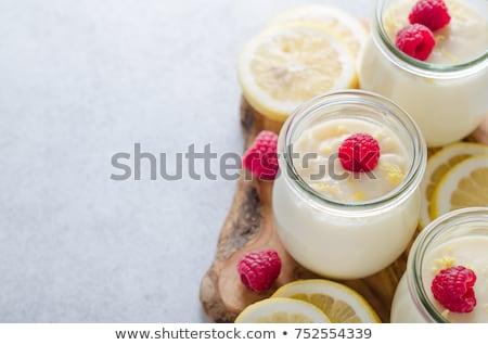 Vla room glas jar Blauw houten Stockfoto © Melnyk
