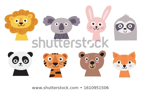 Set of cute animals on isolated background Stock photo © colematt